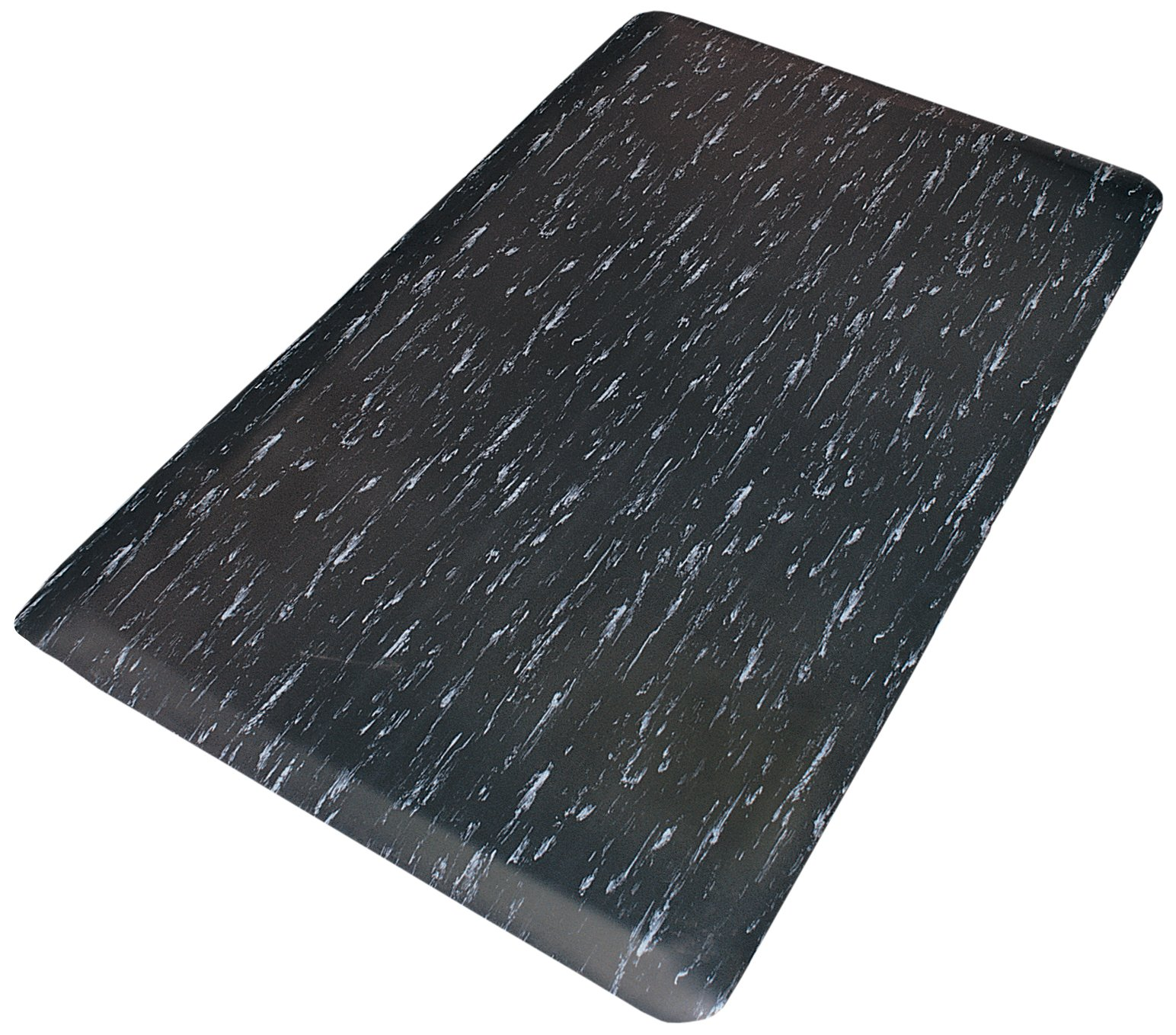 Rhino Mats TT-310BW Marbleized Tile Top Anti-Fatigue Mat, 3' Width x 10' Length x 1/2'' Thickness, Black/White