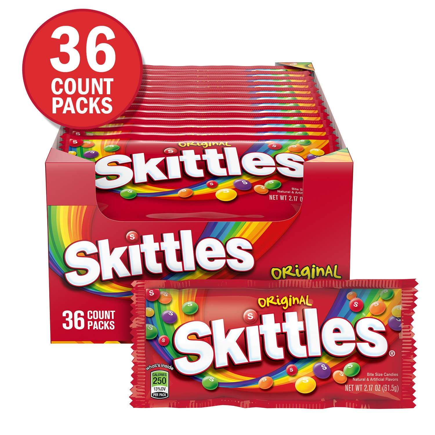 SKITTLES Original Fruity Candy Singles, 2.17-Ounce 36 individual packs by Skittles