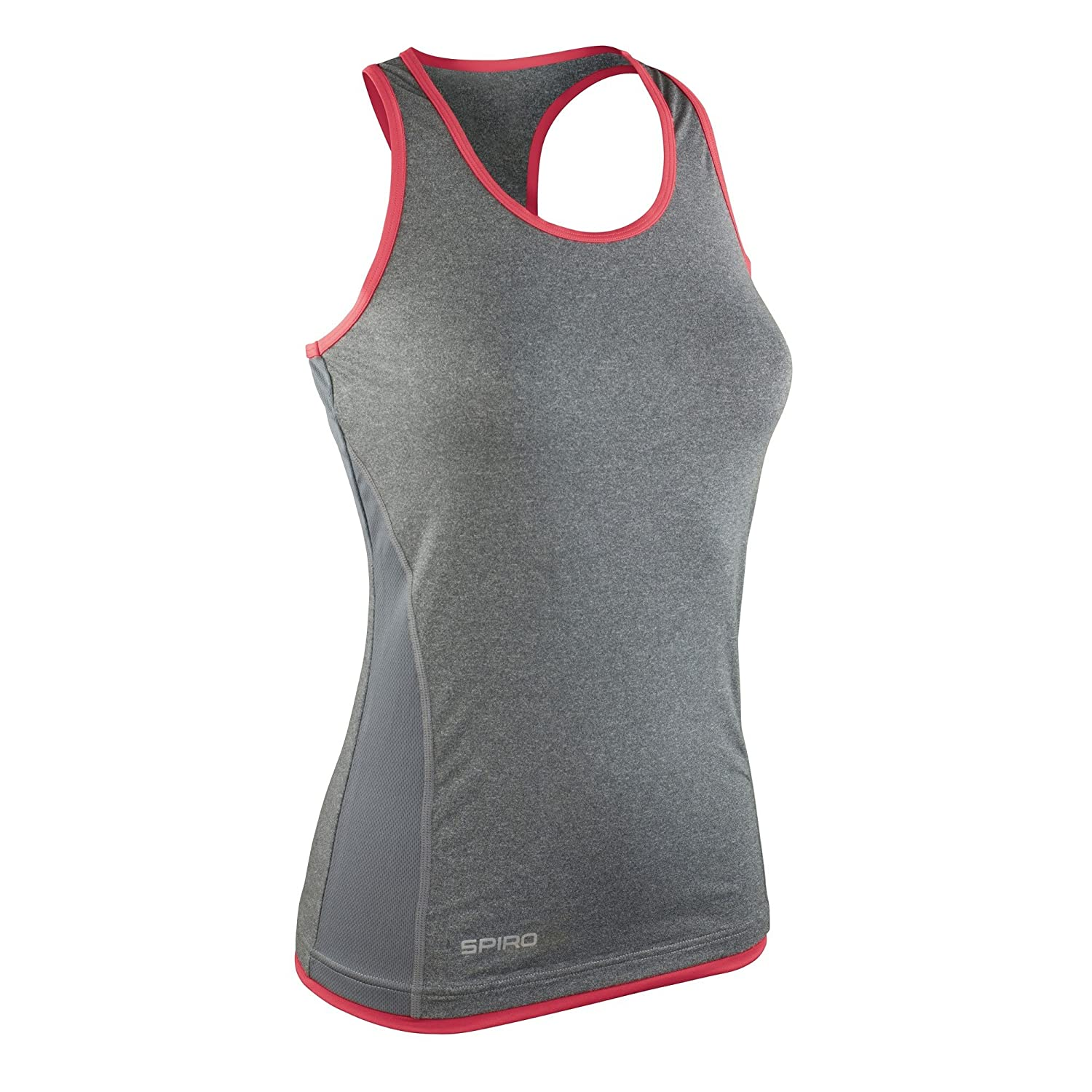 Ladies Keep Fit Gym Vest Top Workout Lightweight Quickdry Grey Marl Exercise New