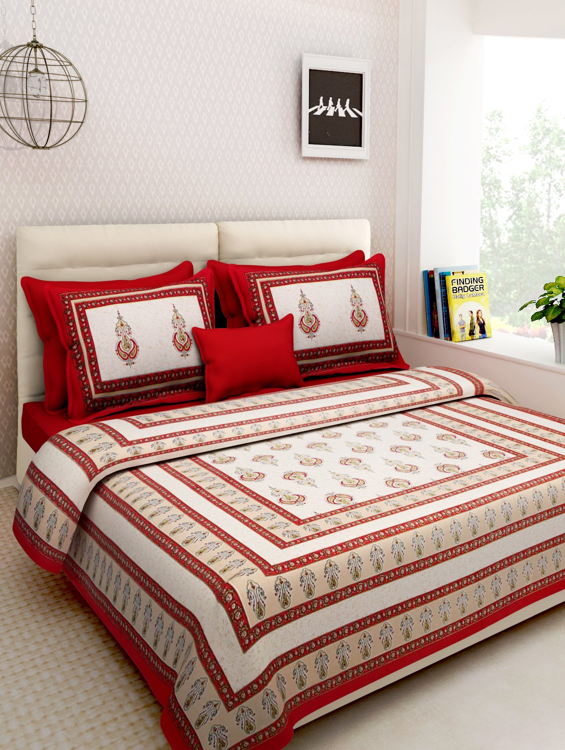 Rajasthan decor screen block print rajasthani king size bed sheet with 2 pillow cover amazon in home kitchen
