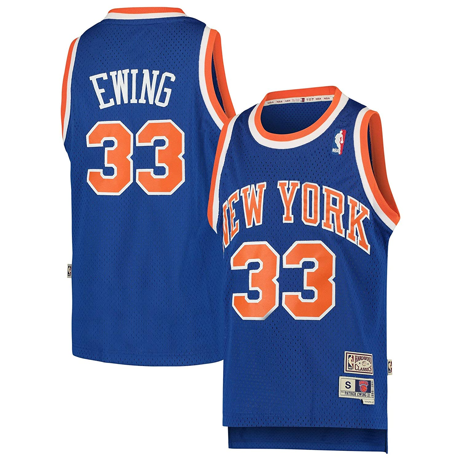 9aa68f381 Amazon.com: Patrick Ewing New York Knicks #33 Blue Youth Hardwood Classic  Swingman Jersey (Large 14/16): Clothing