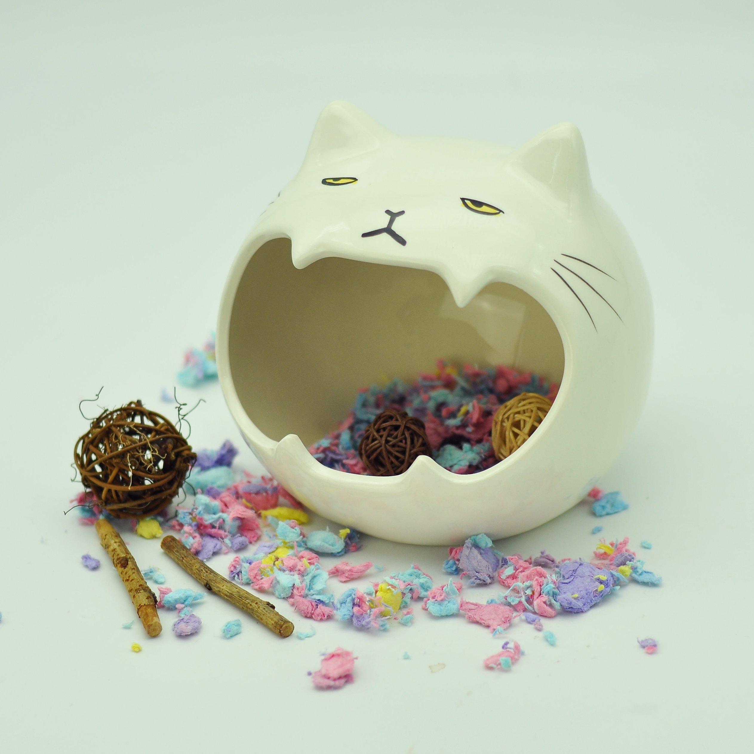 Niteangel Ceramic Small Animal Hideout & Bath Pot, Hamsters Gerbils and Rats Home (cat, 6'' x 5.75'' x 5.25'' (W x D x H))