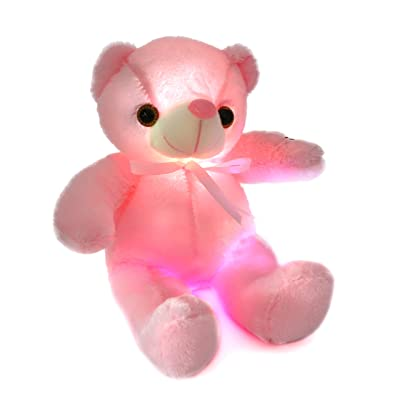 Houwsbaby Glow Teddy Bear with Bow-tie Stuffed Animal Light Up Plush Toys Gift for Kids Girlfriend Holiday Birthday Mother's Day Express Love, 12 inch (Pink): Toys & Games