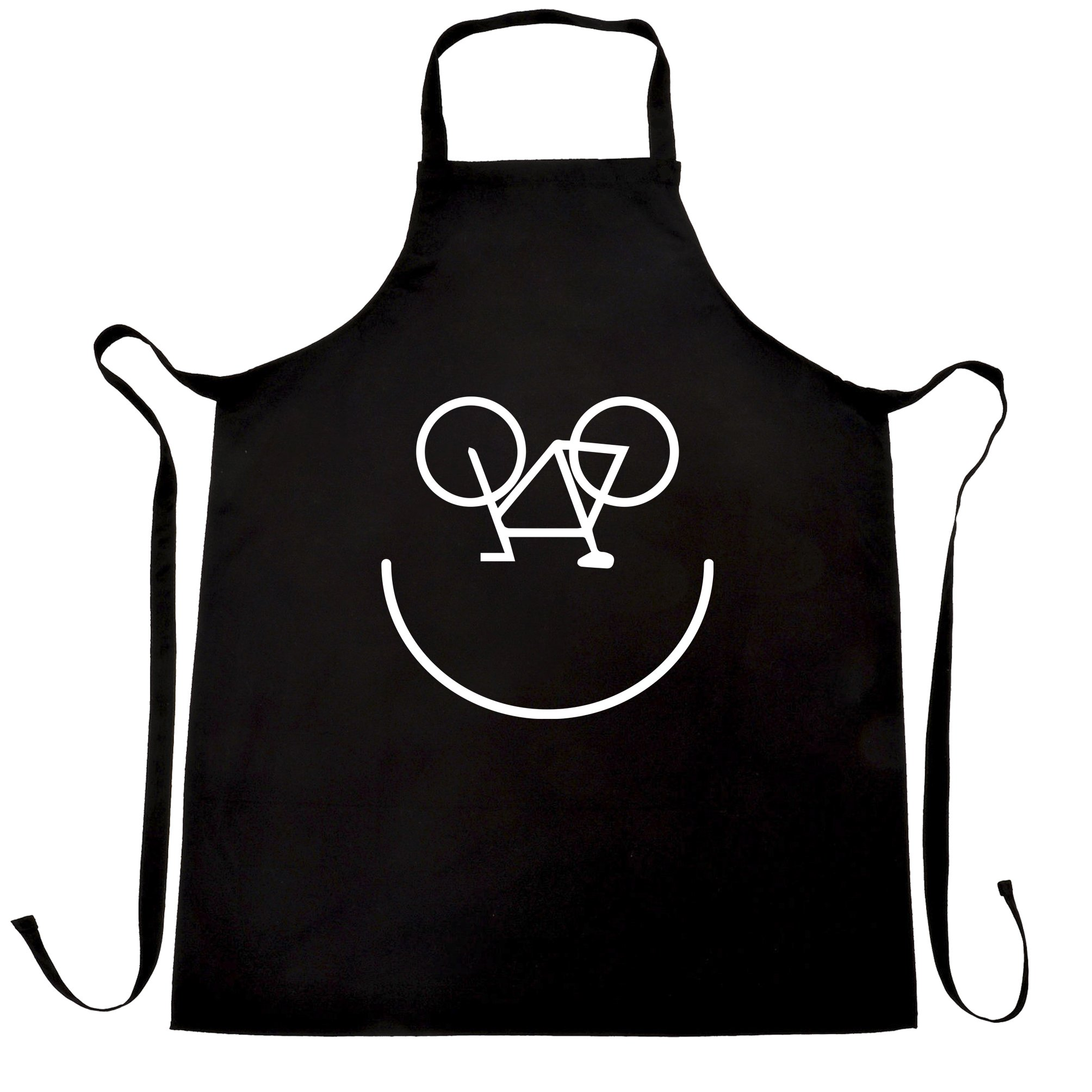 Cycling Chefs Apron Bicycle Smiley Face Logo Black One Size
