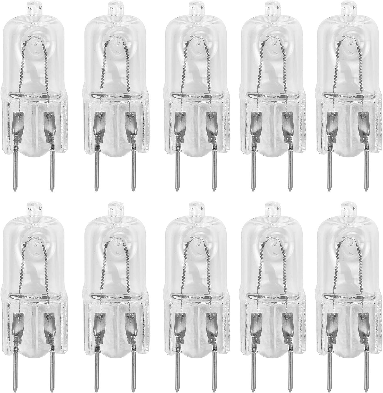"""10 Pack-G8 20Watt 120V Halogen Light Bulbs T4 JCD Type 120V Bi-Pin Base Shorter 1-1/4"""" (1.25"""") Length 20W Lamp Soft White Under Cabinet Puck Lighting Replacement Dimmable Hood Range Q20/G8/CL/120V"""
