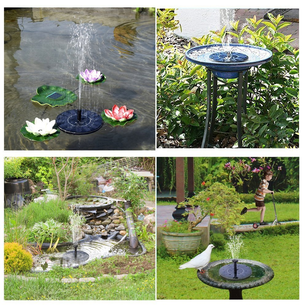 GOGOOUT Solar Fountain, Solar Powered Bird bath Fountains Pump Freestanding Submersible with 1.4W Solar Panel Kit, for Small Pond, Fish Tank, Garden Decoration by GOGOOUT (Image #7)