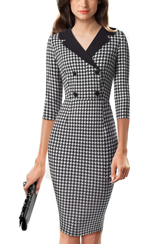 Vestido de oficina con cuello en V para mujer HOMEYEE B570