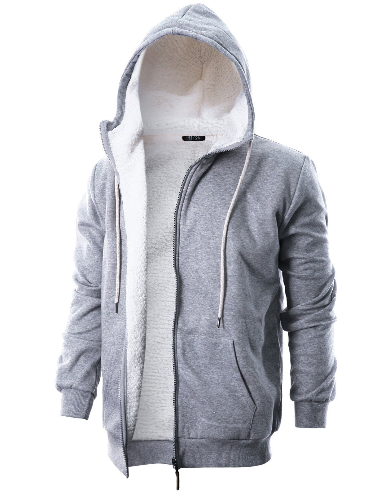 GIVON Mens Slim Fit Long Sleeve Thermal Faux Fur Zip-up Hoodie With Kanga Pocket/DCF016-GREY-M by GIVON
