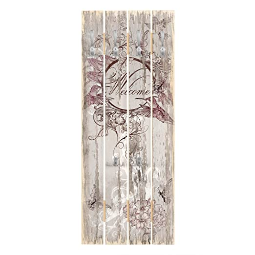 Perchero de Madera Welcome with Butterfly, 100x40 cm Incl ...