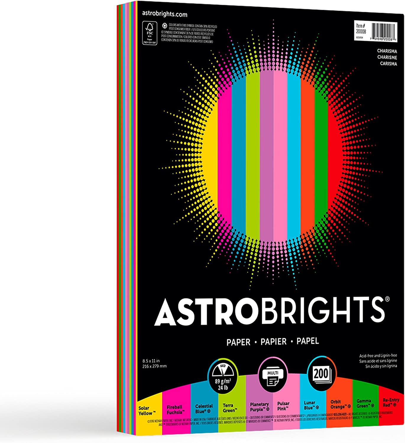 """Neenah Astrobrights Color Paper, 8.5"""" x 11"""", 24 lb / 89 gsm, """"Charisma"""" 10-Color Assortment, 200 Sheets (20008) : Printer And Copier Paper : Office Products"""