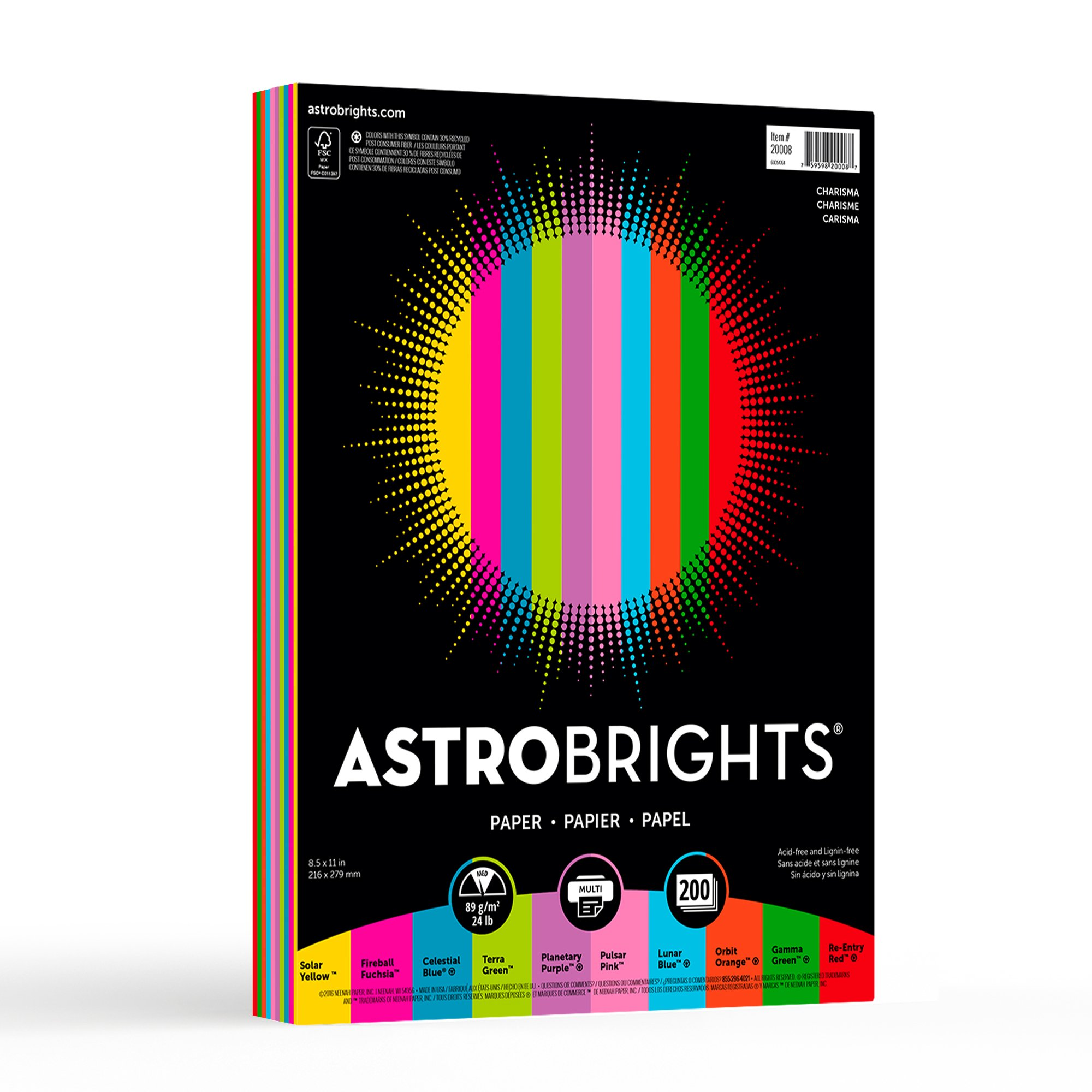 "Astrobrights Color Paper, 8.5"" x 11"", 24 lb / 89 gsm,""Charisma"" 10-Color Assortment, 200 Sheets (20008)"