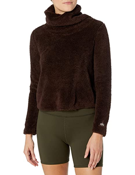 Amazon.com: Alo Yoga Asker Sherpa de la mujer Crew Sweater ...
