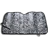 OxGord Car Sunshade - Zebra Print Keeps Vehicle Cool - Jumbo Sun Shades Block UV Rays - Front Car Sunshade Windshield