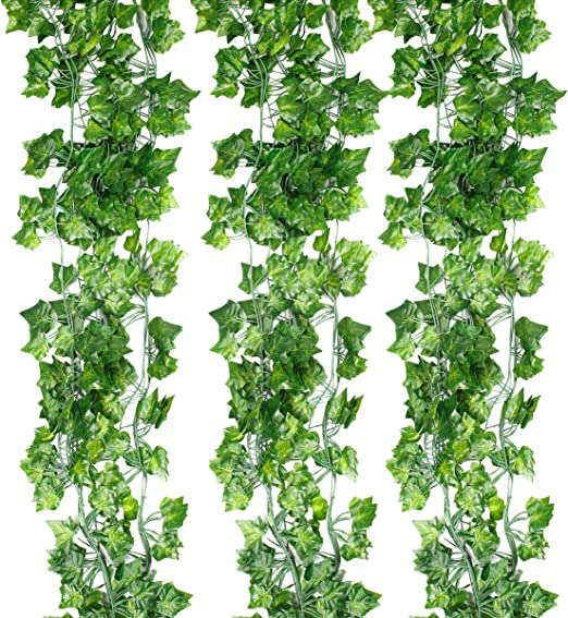 Amazon Com Yihongda Fake Garland Leaves 12pcs 84 Feet Fake Foliage Faux Ivy Artificial Leaves Fake Leaves Ivy Plant Vines Garland Scindapsus Leaves Garland Home Office Garden Wall Decoration Ivy Leaves Home Kitchen