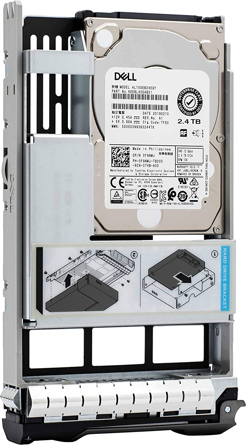 Dell 400-AUVR 2.4TB HDD 10K RPM SAS 12Gbps Hybrid 2.5in to 3.5in Tray Hot Plug Hard Drive