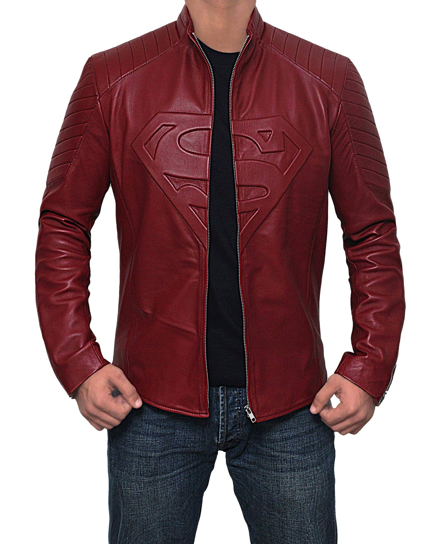 Superman Leather Jacket for Men - Superhero Red Leather Logo Superman Costume Jackets for Adults | 3XL