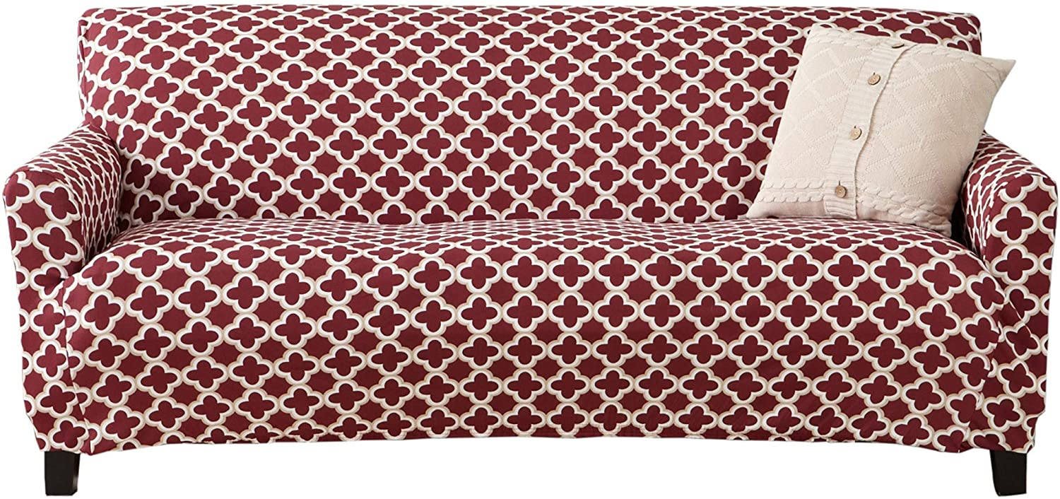 Printed Twill Sofa Slipcover. One Piece Stretch Couch Cover. Strapless Sofa Cover for Living Room. Fallon Collection Slipcover. (Sofa, Burgundy)