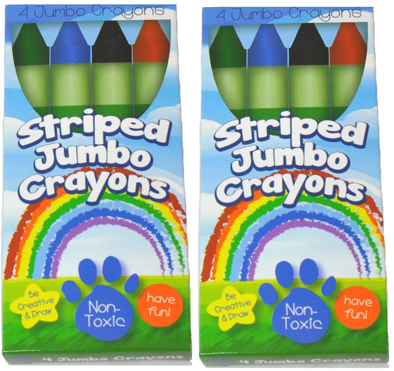 amazon com 8 green stripes crayons 4 colors green blue black
