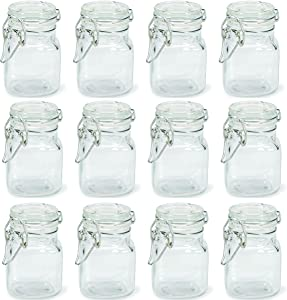 Charmed 3 oz Airtight Square Spice glass Jar with Leak Proof Rubber Gasket and Hinged Lid for Home (24)