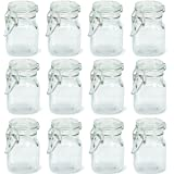 Charmed 3 oz Airtight Square Spice glass Jar with Leak Proof Rubber Gasket and Hinged Lid for Home (12)