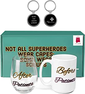 Before Patients After Patients 15oz Coffee Mug And 17oz Stemless Wine Glass Set-Funny Gifts for Nurse, Doctor, Medical Practitioner, Dentist,Healthcare worker- Medical School Graduation Gifts,