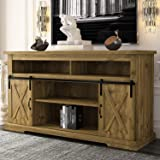 Decok Tall TV Stand for 55 Inch TVs with Sliding Barn Doors, Entertainment Center Storage Cabinet, Farmhouse Wood Console Tab
