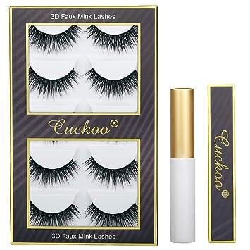 Cuckoo Eyelashes 3D False Eyelashes with Eyelash Glue 5 Pairs Faux Mink Lashes Dramatic Wispy Fluffy Volume Fake Eyelashes