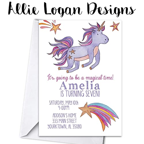 Image Unavailable Not Available For Color Watercolor Unicorn Birthday Party Personalized Invitations