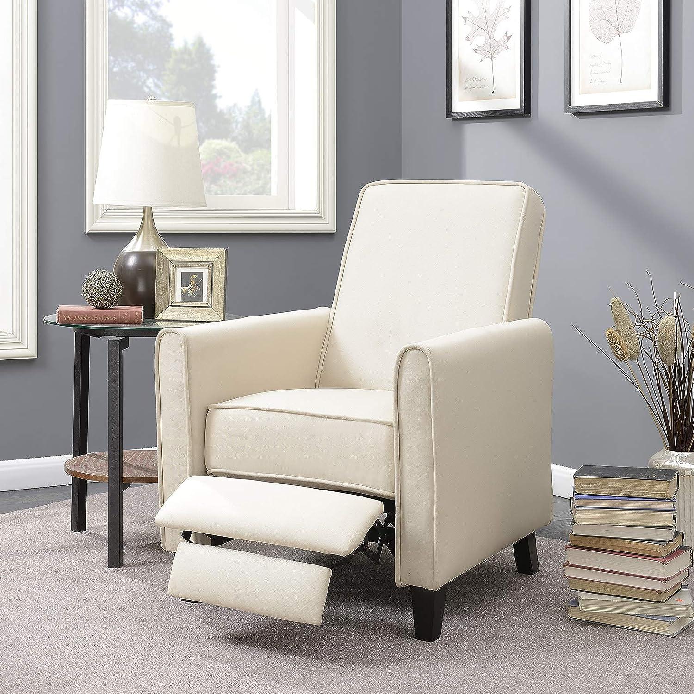 Amazon com belleze modern living room furniture design recliner club linen chair accent beige kitchen dining