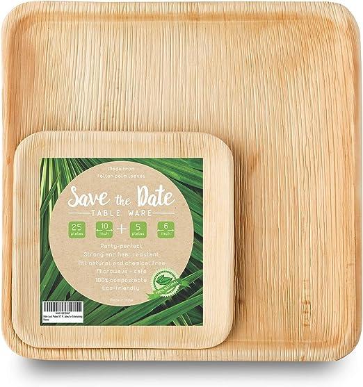 savethedate cuadrado de hoja de palma platos | platos de bambú ...