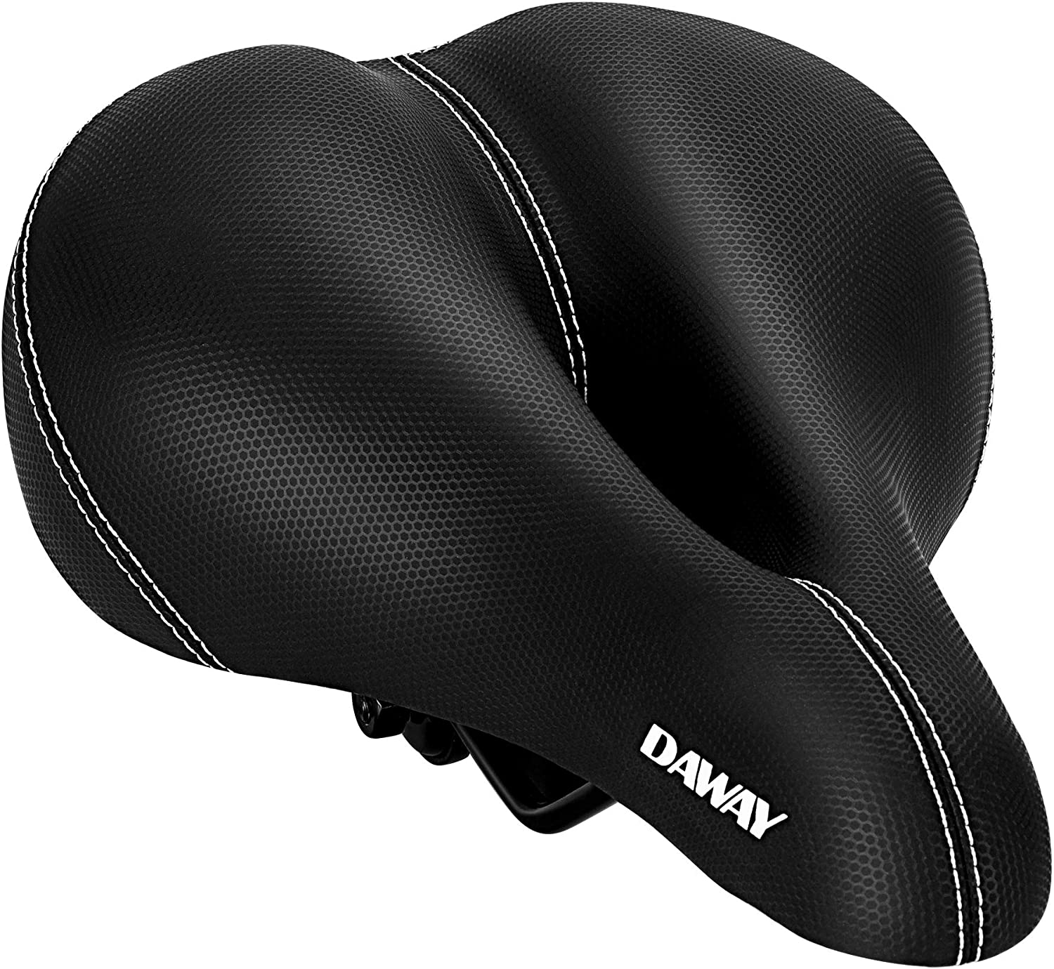 DAWAY Comfortable Men Women Bike Seat - C99 Memory Foam Padded Leather Wide Bicycle Saddle Cushion with Taillight, Waterproof, Dual Spring Suspension, Soft, Breathable, Universal Fit