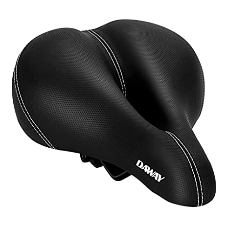 62e24d5536b DAWAY Comfortable Men Women Bike Seat - C99 Memory Foam Padded Leather Wide Bicycle  Saddle Cushion with Taillight, Waterproof, Dual Spring Suspension, Soft, ...