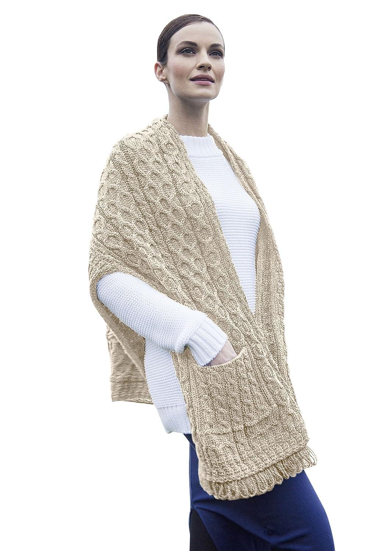 Ladies Merino Wool Irish Wrap with Pocket Carraig Donn