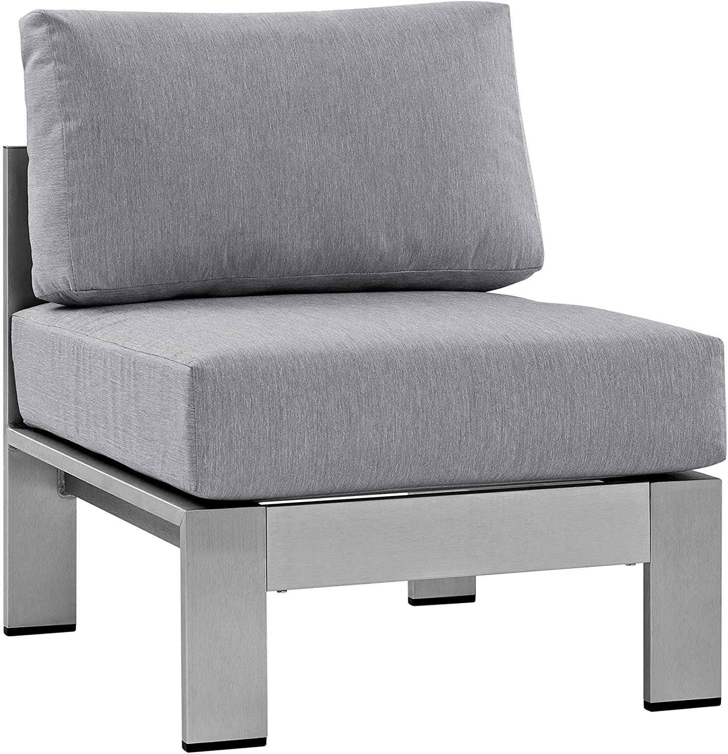 Modway Shore Aluminum Outdoor Patio Armless Chair in Silver Gray