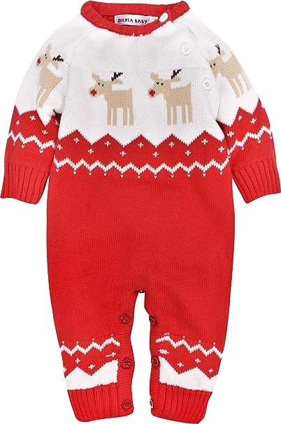 ZOEREA Pelele, ropa de bebé, para recién nacido, ropa navideña, prenda de punto, diseño de reno - Rojo - : Amazon.es: Ropa y accesorios