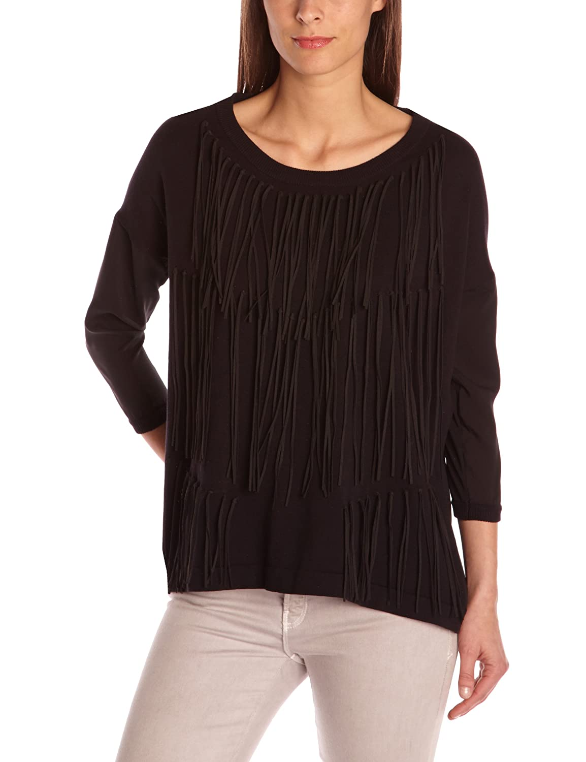 Eleven Paris Damen Sweater ANGIE WOMEN, V-Ausschnitt Schwarz (M06 Black) 13S2KN03