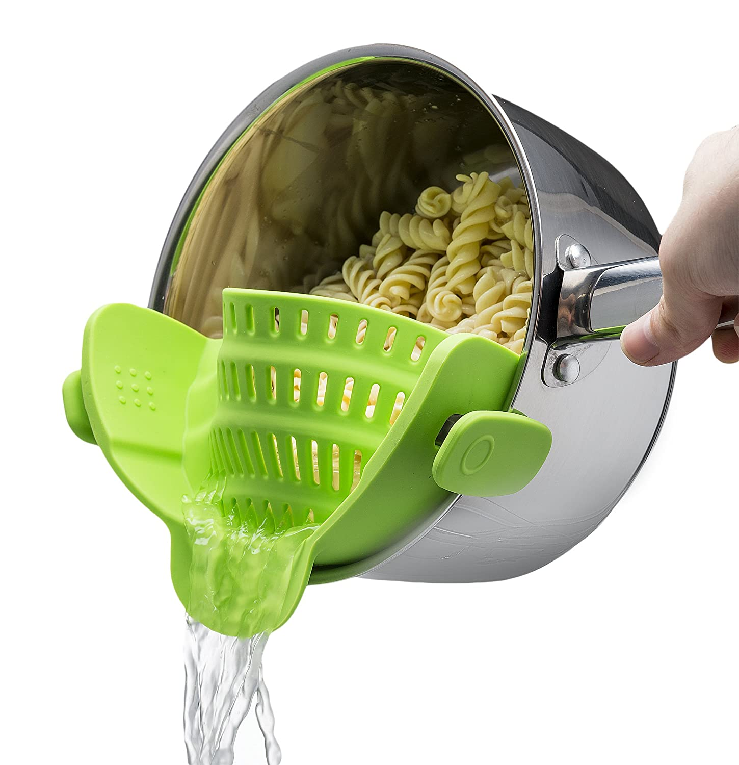 Snap 'N Strain Strainer, Clip On Silicone Colander, Fits all Pots and Bowls -