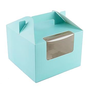 Ibex Retail 10 x Cajas para Cupcakes en Color Azul con Insert para 4 Pasteles y Mango: Amazon.es: Hogar