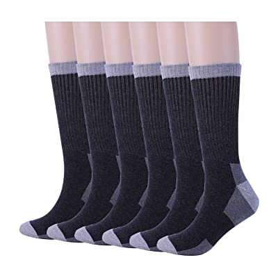 6 Pack Mens Athletic Hiking Boot Work Socks,Cotton Crew Sock with Cushion