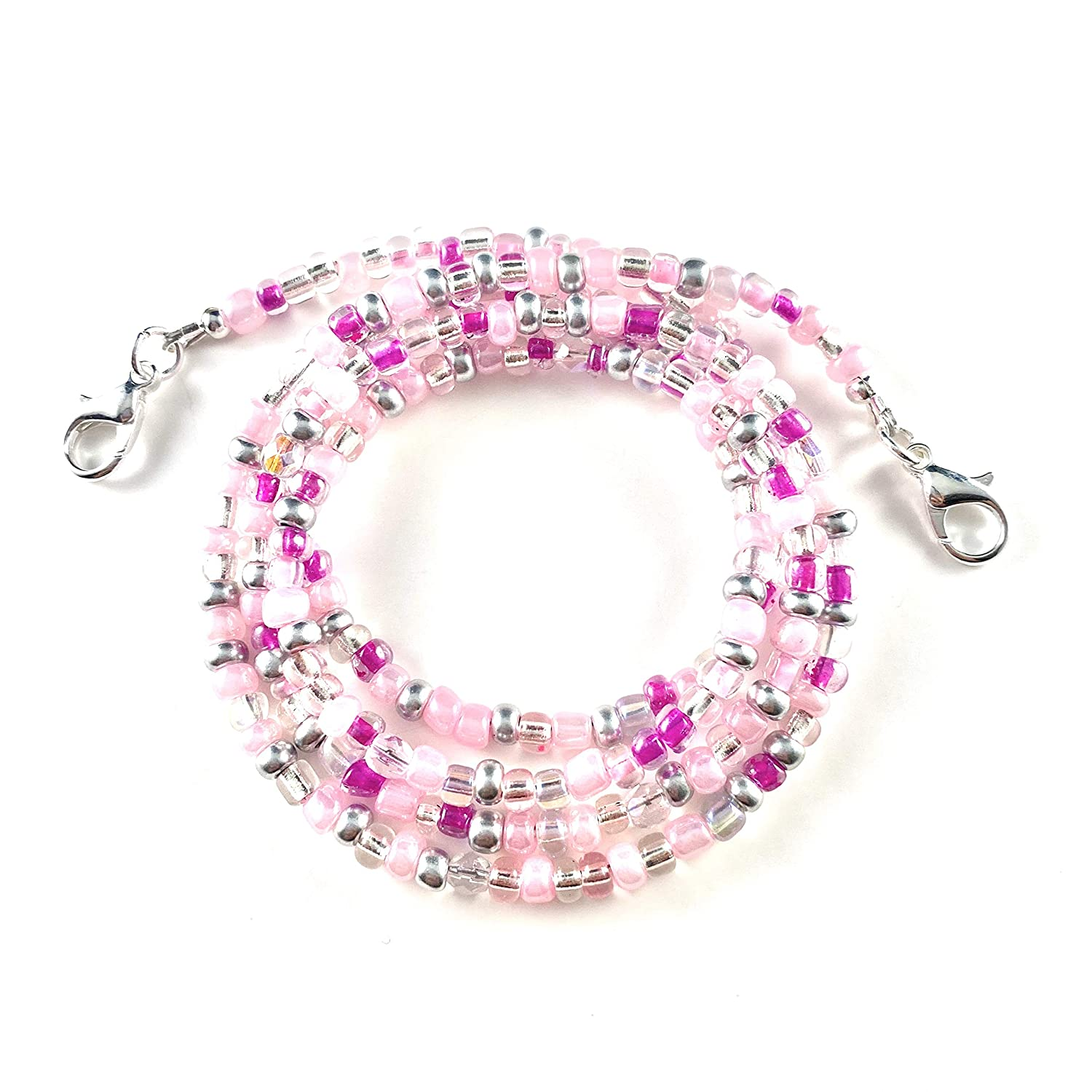 Mask Accessory Mask Lanyard Pink and Silver Mask Leash BEADING ARTISTRY Beaded Mask Holder Handmade in the USA 28 Inches Mask Strap