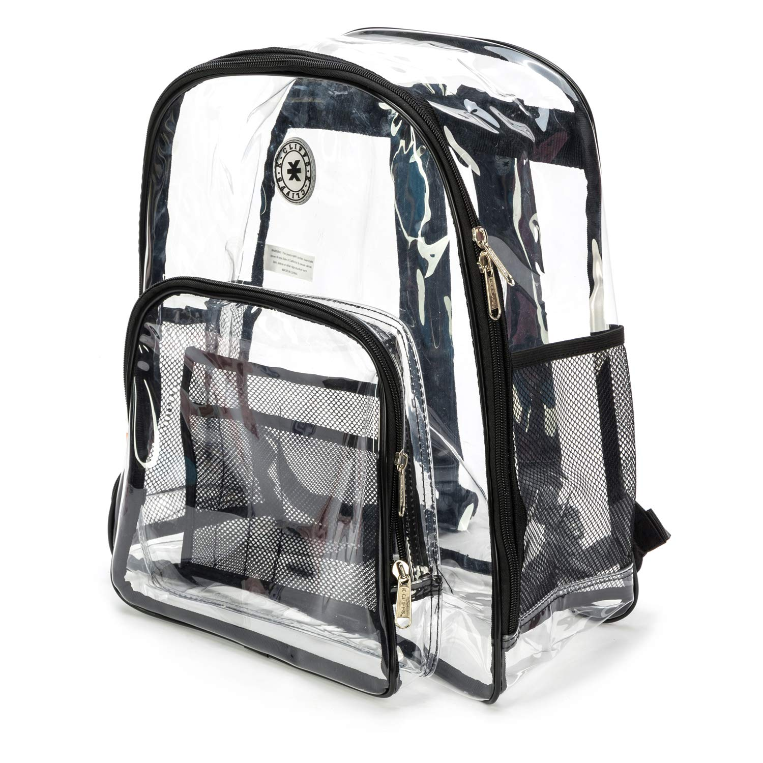 Heavy Duty Clear Backpack Durable See Through Student School Bookbag Quality Transparent Workbag Easy Stadium Security Check Bag Daypack Black by K-Cliffs (Image #4)