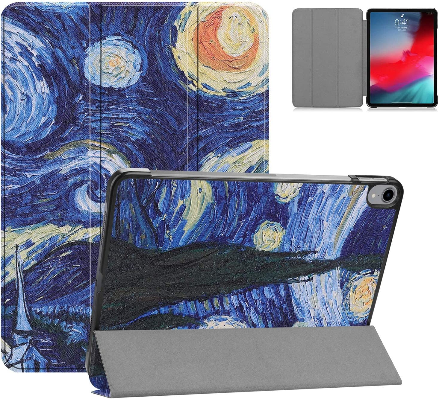 """Premium Folio Case for iPad Pro 11"""" 2018, Cookk Book Cover Design [Apple Pencil Holder], Multi-Angle Viewing Stand, Smart Cover Auto Sleep/Wake for iPad 11"""" (2018 Release), Starry Night"""