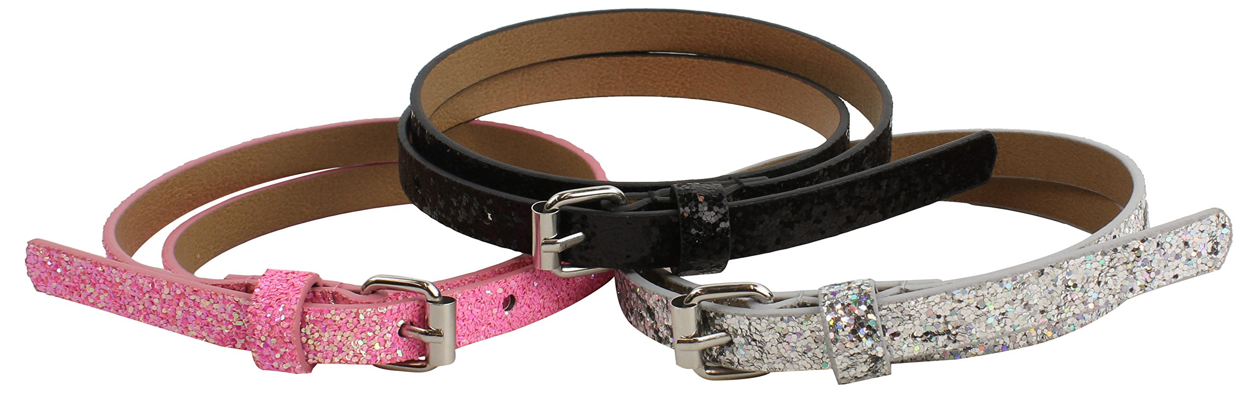 On the Verge Little Girls' 3 Pack Belts, Pink/Black/Silver, Small/Medium