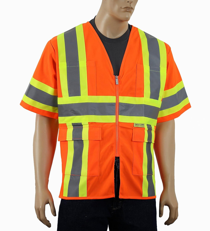 安全Depotクラス3 ANSI 2つトーン高い可視性安全ベストポケットとジッパー開閉メッシュまたはソリッドオレンジとライム B06XS2X1DS 5XL|ソリッドオレンジ ソリッドオレンジ 5XL