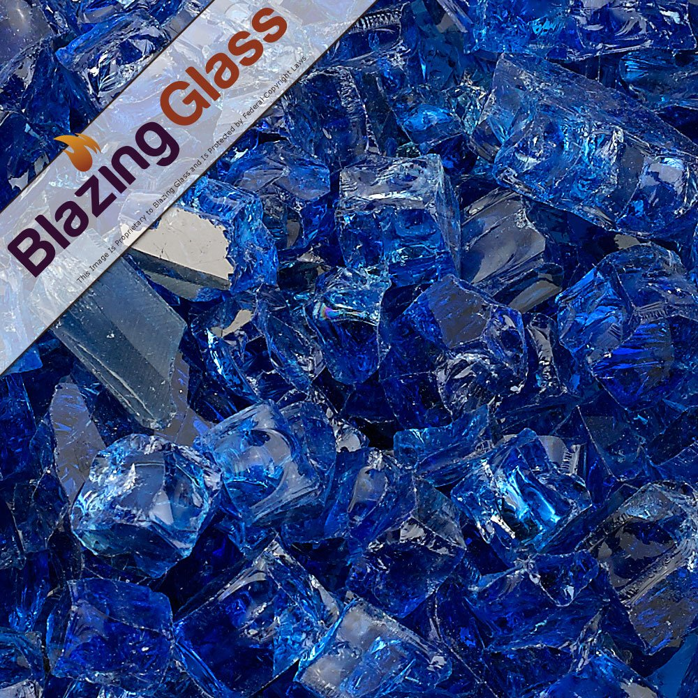 Blazing Fireglass 20-Pound Reflective Fire Glass with Fireplace Glass and Fire Pit Glass, 1/2-Inch, Cobalt Blue
