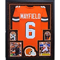 $449 » Baker Mayfield Cleveland Browns Autograph Signed Custom Framed Jersey Suede Matted 4 Picture JSA Certified