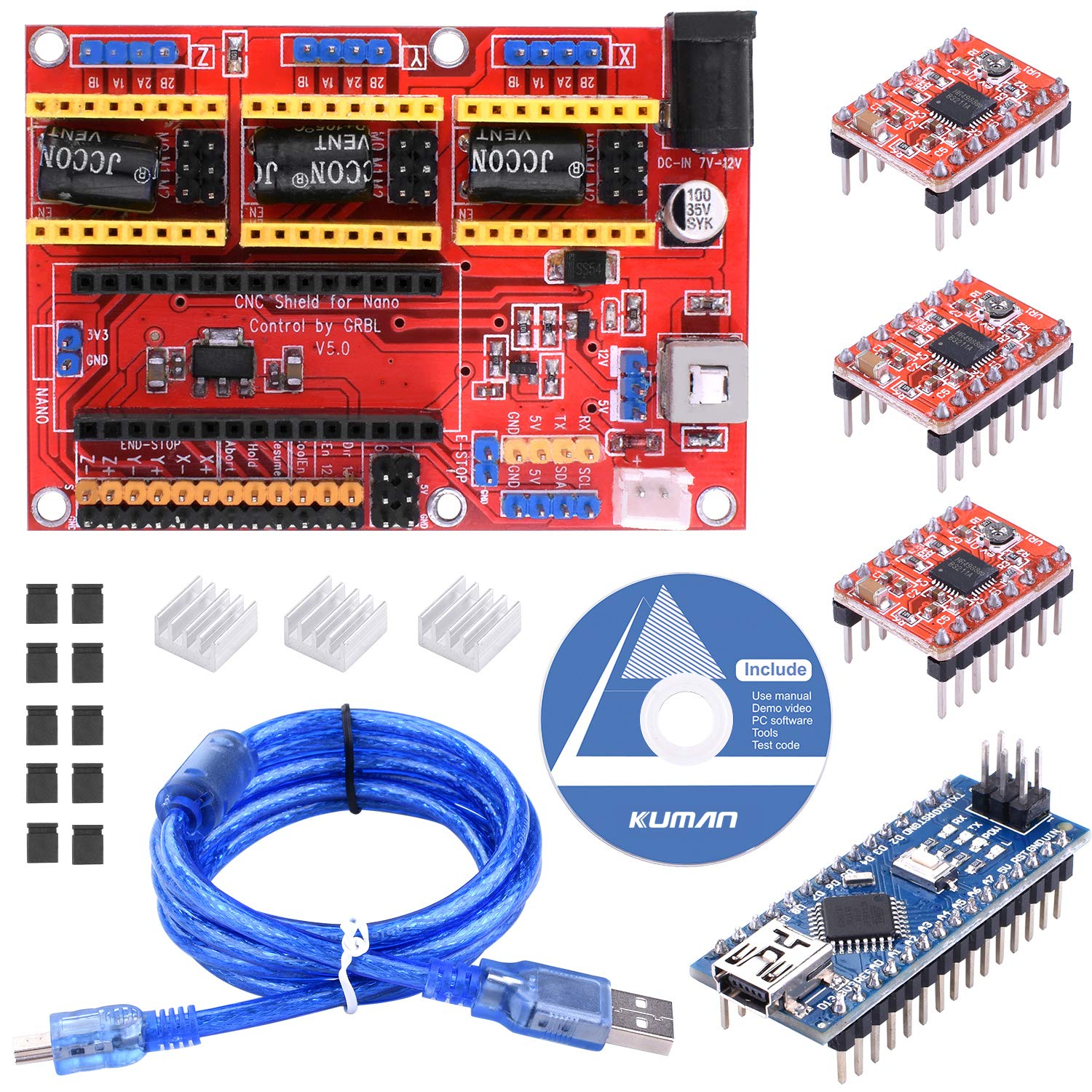 Kuman para impresora 3D Arduino CNC Shield Expansion Board V5.0 + ...