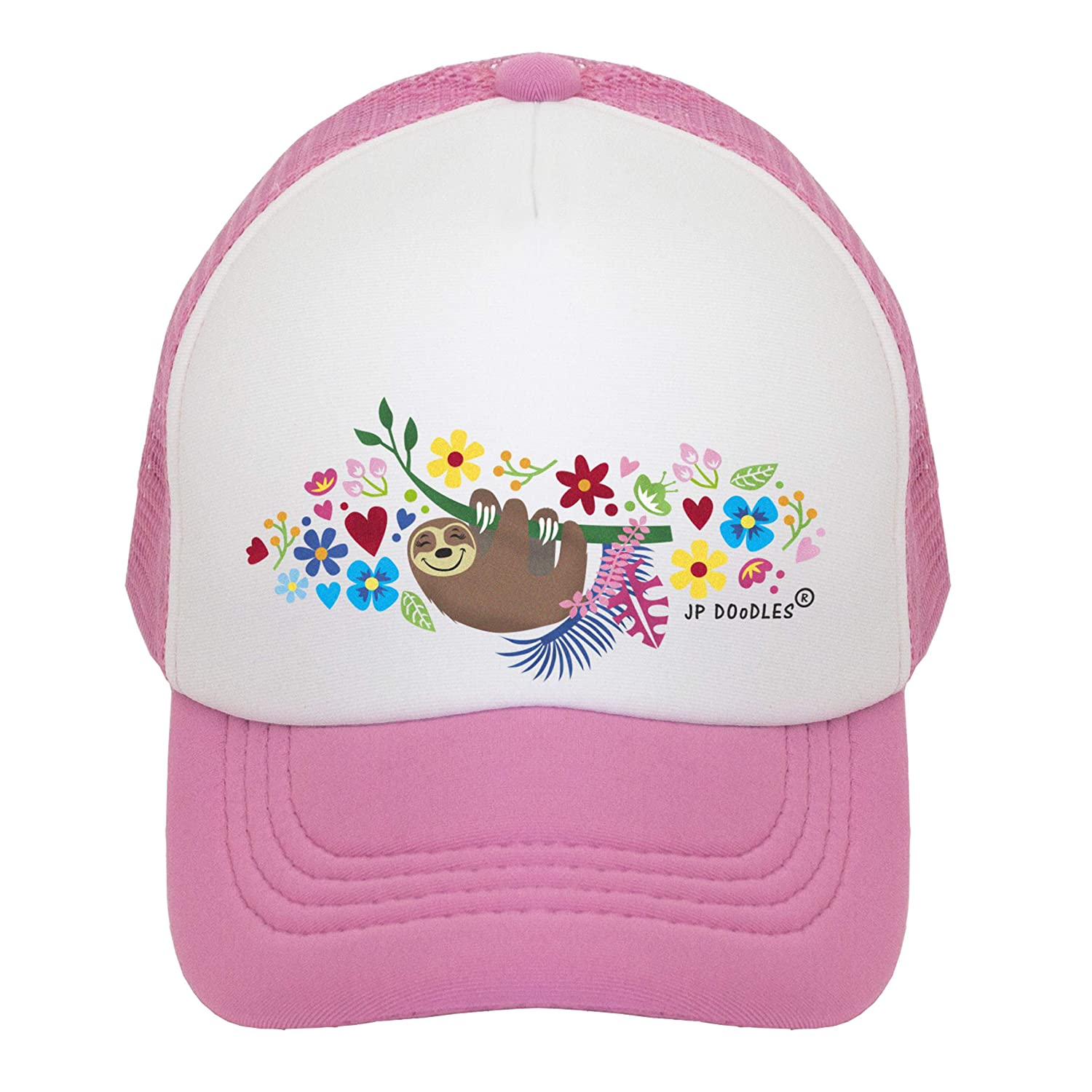 JP DOoDLES Sloth on Kids Trucker Hat and Youth Sizes. Kids Baseball Cap is Available in Baby Toddler
