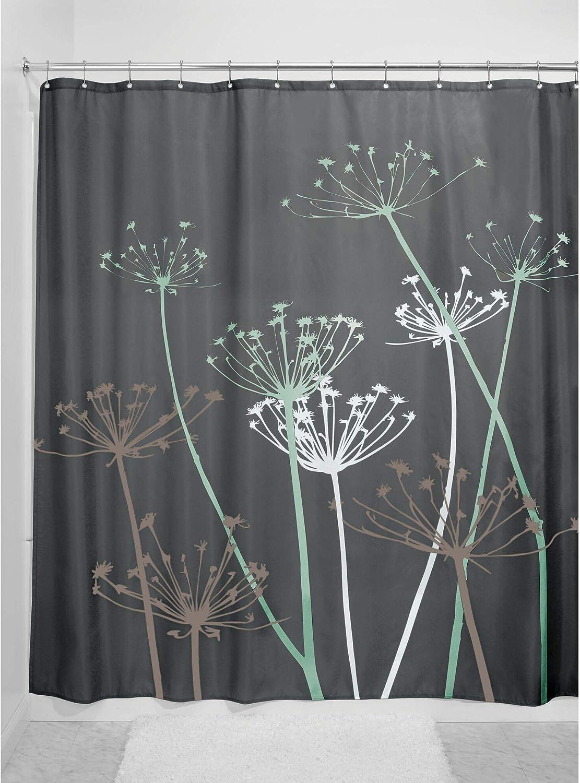 InterDesign Thistle rideau douche gris//menthe grand rideau baignoire 183,0 cm x 183,0 cm en polyester rideau de bain lavable fleuri en tissu doux