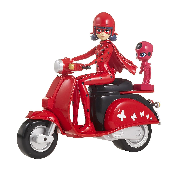 Bandai Ladybug et Son Scooter Miraculous Figurine, 39880, Rouge Noir